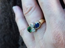 emerald sapphire and diamond gold ring 1
