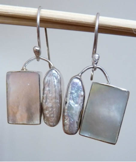 Mother of pearl and fresh water pearl earrings