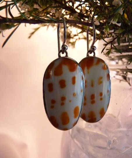 Large oval speckled orange and white shell earrings