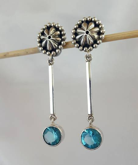 Blue topaz silver earrings  **on sale now**