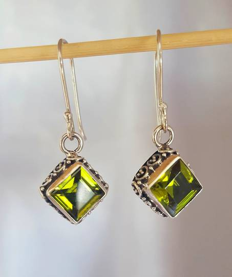 Silver peridot earrings with filigree detail