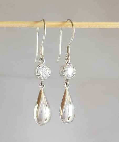 Long teardrop cubic zirconia earrings