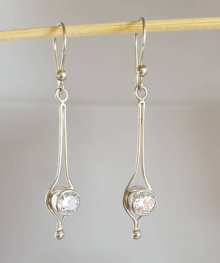 Long, elegant silver clear gemstone earrings