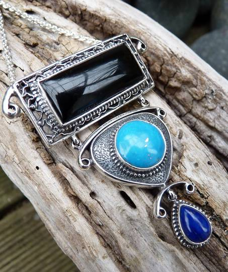 One off designer pendant with onyx, lapis and turquoise