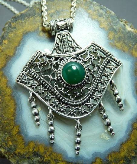 Spectacular green Asian Jade sterling silver pendant - on sale now