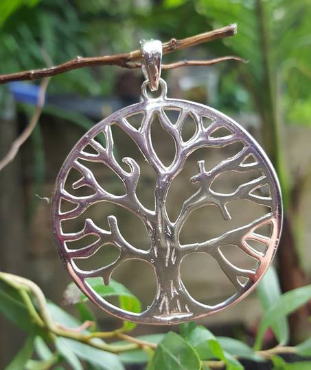 Sterling silver large tree of life pendant