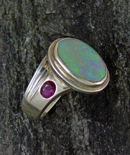 Sterling silver opal and natural ruby sapphire ring