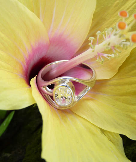 Cubic Zirconia Ring with Cutout Detailing