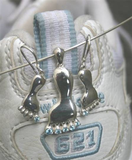 Blue Topaz Sterling Silver Foot Pendant