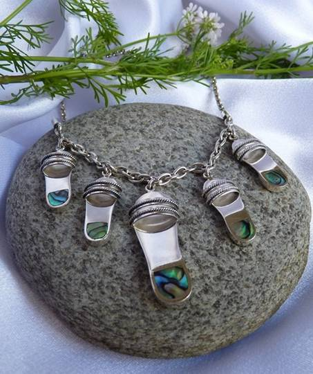 NZ paua shell necklace - silver sandals