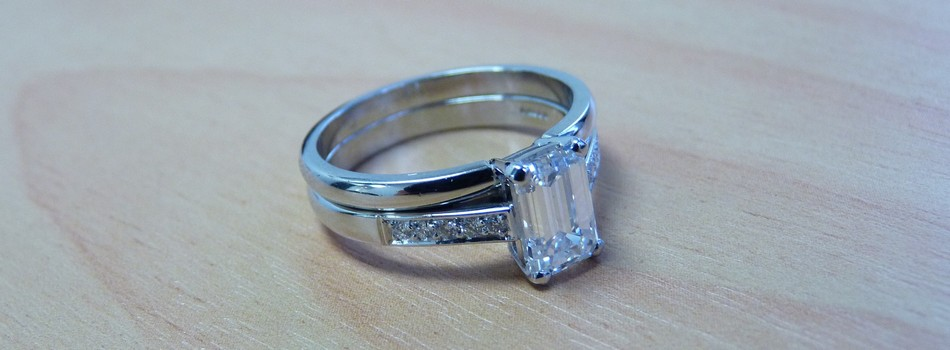 platinum engagement wedding set