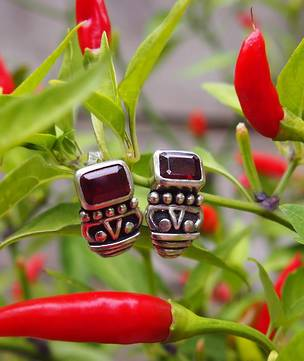 Deep red garnet sterling silver earrings
