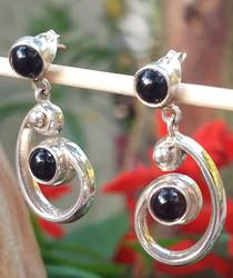 Silver black onyx koru earrings