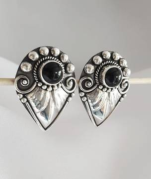 Statement stud earrings, black onyx and silver