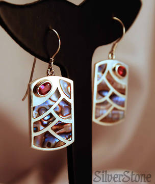 Paua shell earrings with ruby