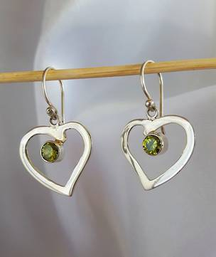 Silver Hearts with Peridot - Green is Gorgeous!