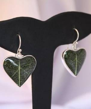 Green skeleton leaf silver earrings - heart shaped
