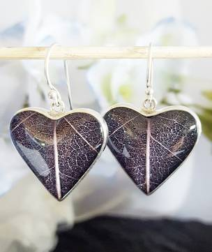 Purple skeleton leaf silver earrings - heart shaped