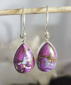 Teardrop purple mohave turquoise earrings