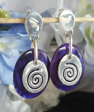 Purple Paua Earrings with Silver Koru Disc