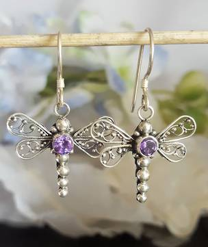 Silver amethyst dragonfly earrings