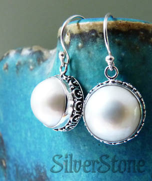 White mabe pearl silver earrings