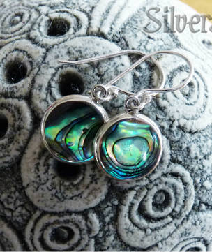 Paua shell silver earrings - simple yet stylish