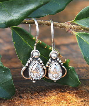 Detailed filigree cubic zirconia (c/z) earrings