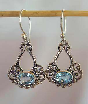 Silver filigree blue topaz earrings - free courier in NZ