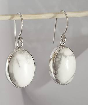 White howlite gemstone earrings