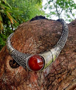 Magnificent, sterling silver collar necklace with glowing carnelian