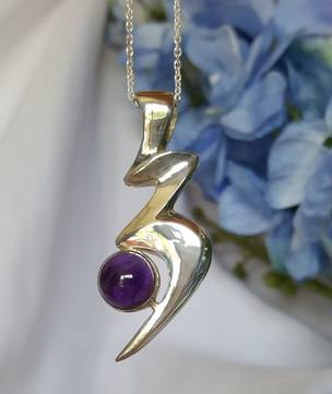 NZ made silver amethyst pendant