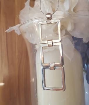 On trend geometric sterling silver pendant , squares on square