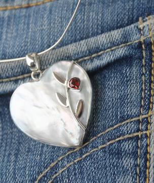 Mother of pearl (white shell) silver pendant