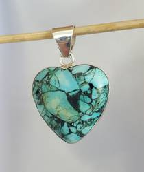 Turquoise Silver Heart Pendant