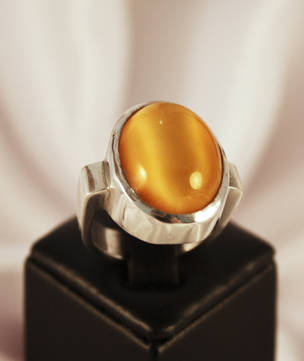 Large yellow moonstone silver ring