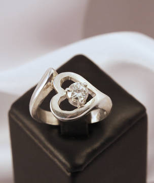 Heart Shaped Ring, Cubic Zirconia