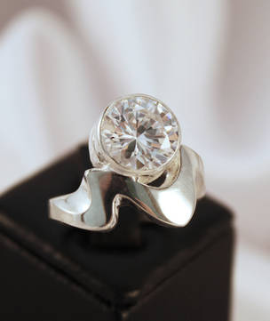 Silver cubic zirconia ring - made in NZ