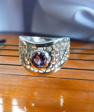 Chunky sterling silver amethyst ring