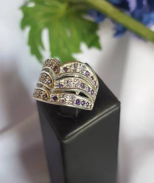Wide, multi band, multi stones silver ring