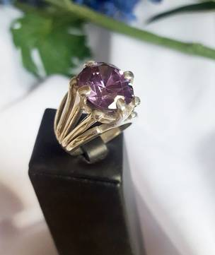 Super chunky, super stylish, silver amethyst ring