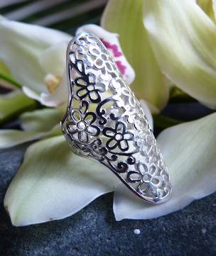 Long sterling silver filigree ring