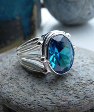 Large blue topaz silver ring | Made in NZ
