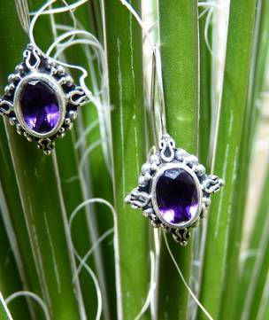 Silver Amethyst Earrings | Filigree and hook to close