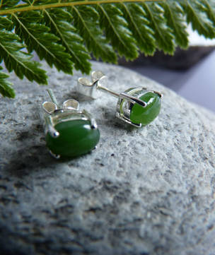 Canadian greenstone stud earrings - sterling silver