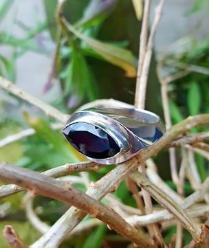 Heavy silver garnet ring