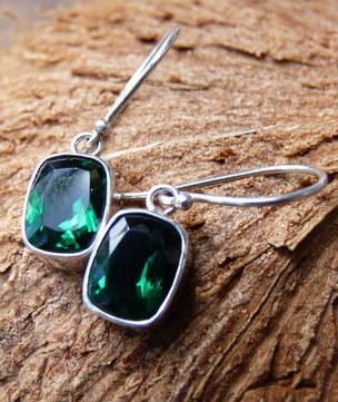 Green Quartz Rectangle Earrings