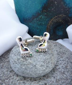 Sterling silver cufflinks foot shape with green stone